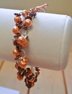 Copper fluted and atiqued rope beads bracelet - DSC_0628