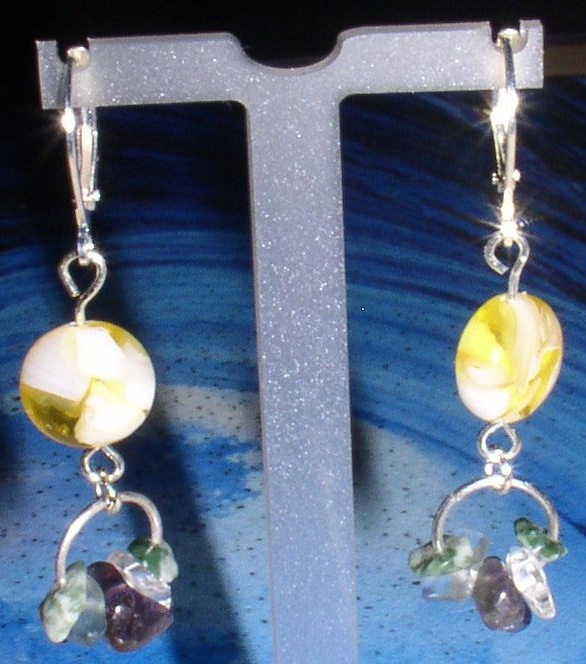 Yellow puff mother-of-pearl dangles with crystals, amethyst, tree agates