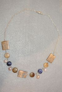 Sodalite, Jasper, Pearl Necklace