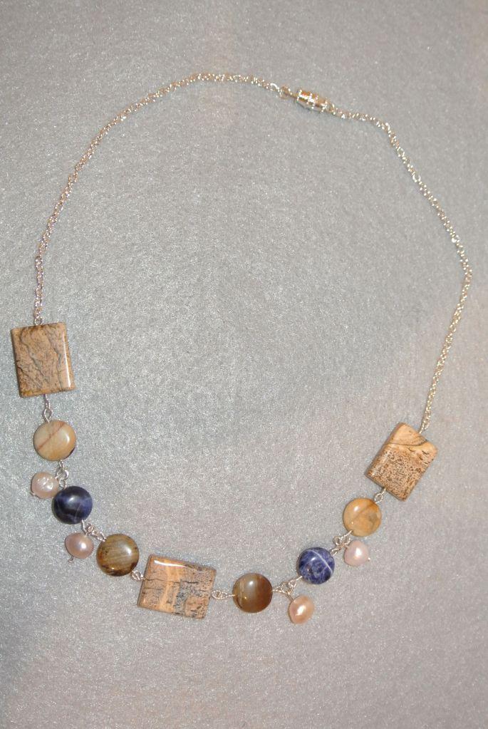 Sodalite, Jasper, Pearl Necklace