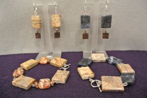 Sodalite and Jasper bracelets and earings sets