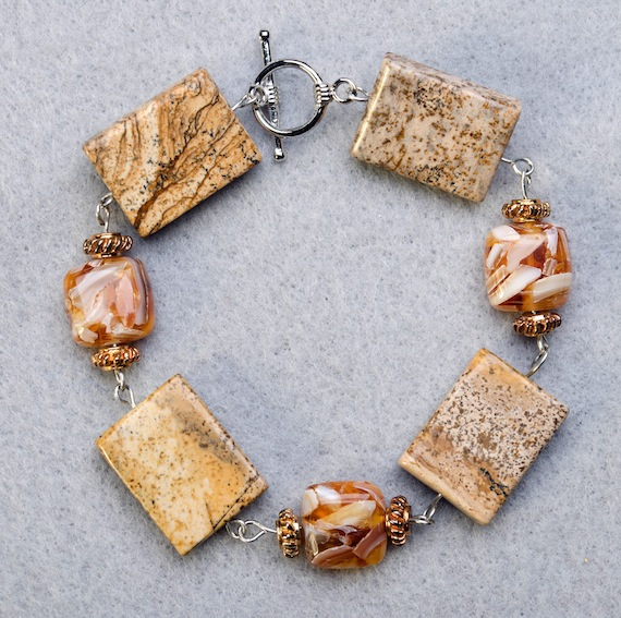 Picture Jasper with Mother of Pearl Bracelet