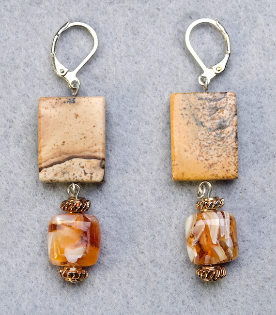 Picture Jasper and Mother of Pearl Earrings