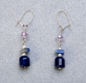 Blue dangles with clear sw crystal and lapis lazuli