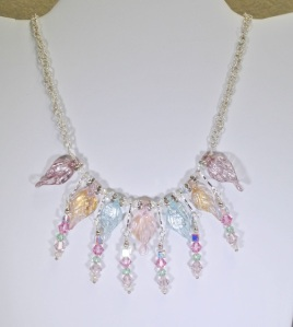 Crystal and Leaf Necklace