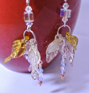 Leaf and Crystal earrings - detail