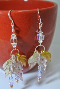 leaf and crystals earrings 1