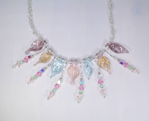 leaf and crystals necklace 2
